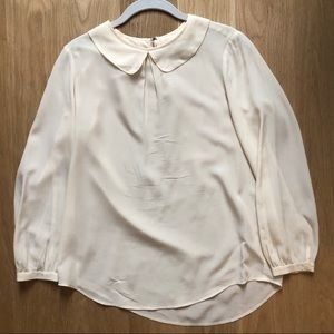 Madewell cream silk blouse size small
